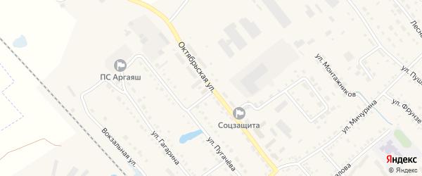 Октябрьская улица на карте села Аргаяша с номерами домов