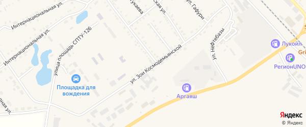 Улица Зои Космодемьянской на карте села Аргаяша с номерами домов
