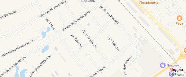 Улица Калинина на карте села Аргаяша с номерами домов