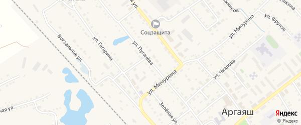 Улица Пугачева на карте села Аргаяша с номерами домов