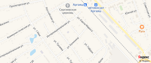 Улица Гафури на карте села Аргаяша с номерами домов