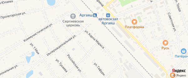 Улица Карла Маркса на карте села Аргаяша с номерами домов