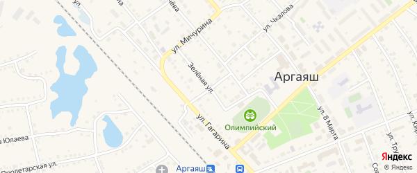 Зеленая улица на карте села Аргаяша с номерами домов