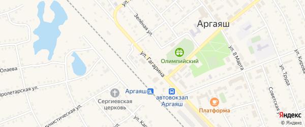 Улица Гагарина на карте села Аргаяша с номерами домов