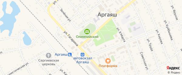 Вокзальная улица на карте села Аргаяша с номерами домов