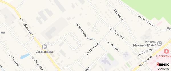 Улица Монтажников на карте села Аргаяша с номерами домов