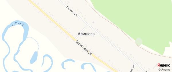 Береговая улица на карте деревни Алишева с номерами домов