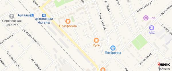 Южная улица на карте села Аргаяша с номерами домов