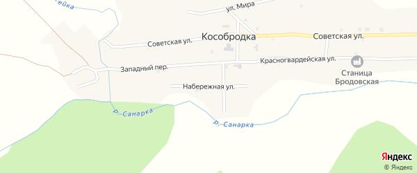 Набережная улица на карте села Кособродки с номерами домов