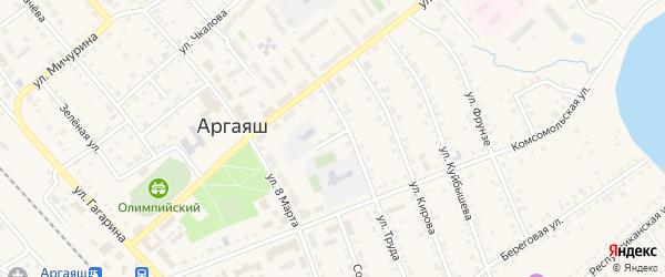 Переулок Труда на карте села Аргаяша с номерами домов