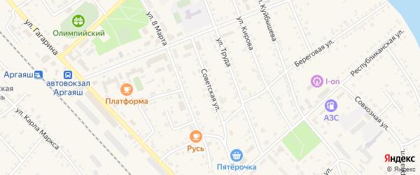 Советская улица на карте села Аргаяша с номерами домов