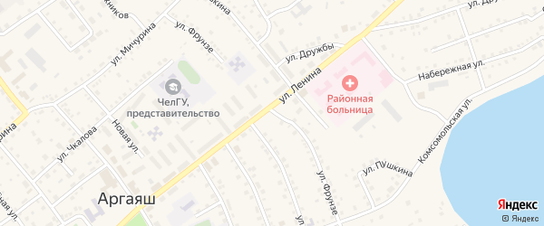 Улица Фрунзе на карте села Аргаяша с номерами домов