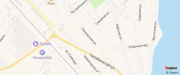 Пионерская улица на карте села Аргаяша с номерами домов