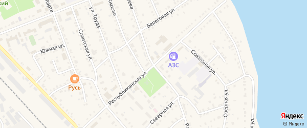 Республиканская улица на карте села Аргаяша с номерами домов