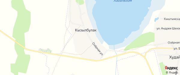 Карта деревни Кызылбулака в Челябинской области с улицами и номерами домов