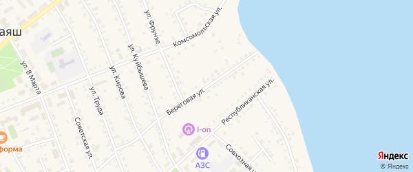 Береговая улица на карте села Аргаяша с номерами домов