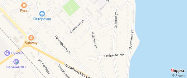 Рабочая улица на карте села Аргаяша с номерами домов