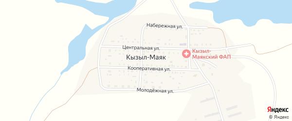 Центральная улица на карте поселка Кызыла-Маяка с номерами домов
