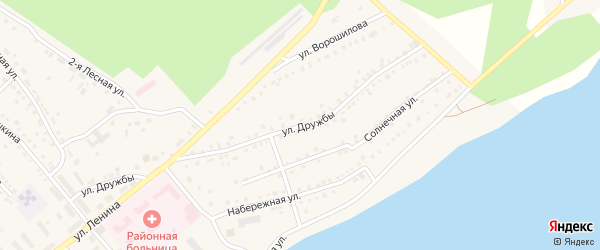 Улица Дружбы на карте села Аргаяша с номерами домов