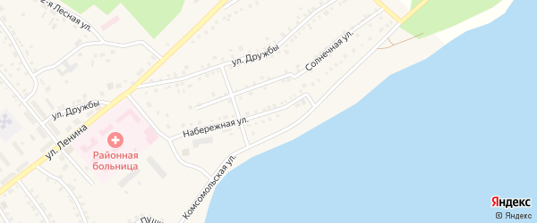 Набережная улица на карте села Аргаяша с номерами домов