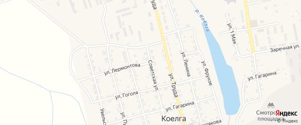 Улица Лермонтова на карте села Коелга с номерами домов