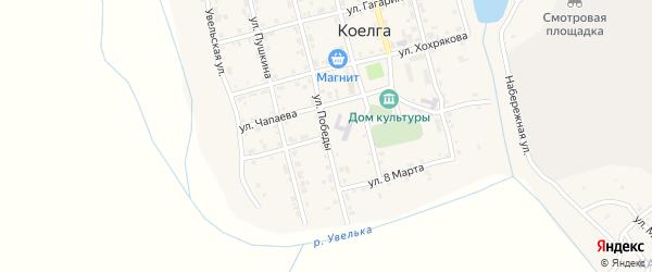 Улица Калинина на карте села Коелга с номерами домов