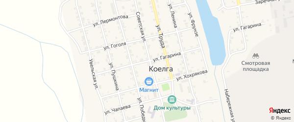 Улица Гагарина на карте села Коелга с номерами домов