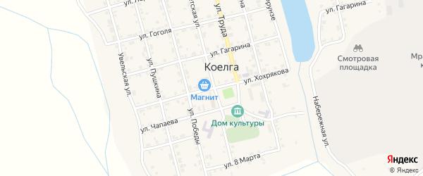 Улица Хохрякова на карте села Коелга с номерами домов