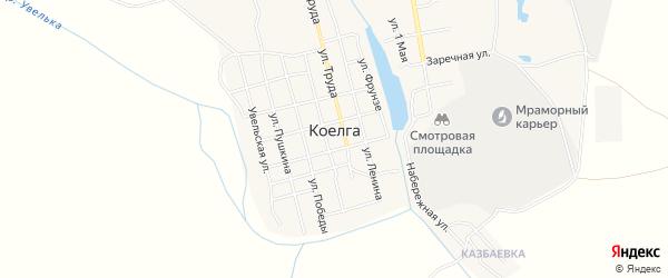Карта села Коелга в Челябинской области с улицами и номерами домов
