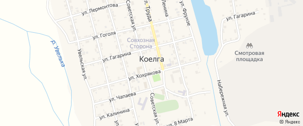 Речная улица на карте села Коелга с номерами домов