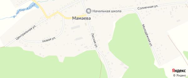 Лесная улица на карте деревни Мамаева с номерами домов