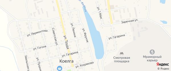 Улица Фрунзе на карте села Коелга с номерами домов