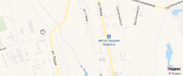 1 Мая улица на карте села Коелга с номерами домов