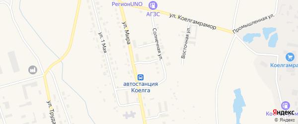 Солнечный переулок на карте села Коелга с номерами домов
