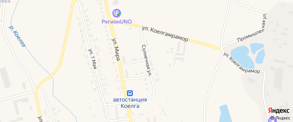 Солнечная улица на карте села Коелга с номерами домов