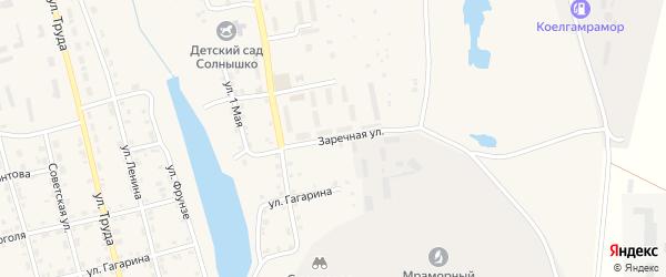 Заречная улица на карте села Коелга с номерами домов