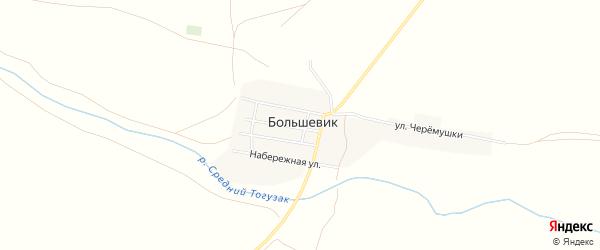 Карта поселка Большевика в Челябинской области с улицами и номерами домов