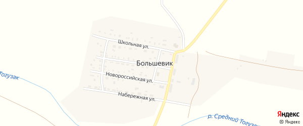 Новокузнецкая улица на карте поселка Большевика с номерами домов
