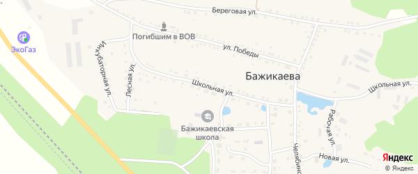 Школьная улица на карте деревни Бажикаева с номерами домов