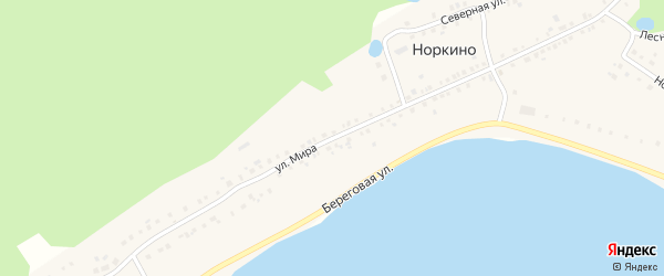 Улица Мира на карте деревни Норкино с номерами домов