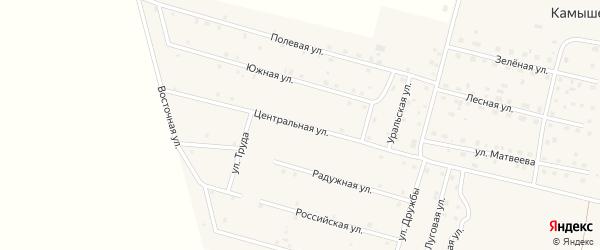 Центральная улица на карте деревни Камышевки с номерами домов