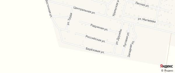 Российская улица на карте деревни Камышевки с номерами домов