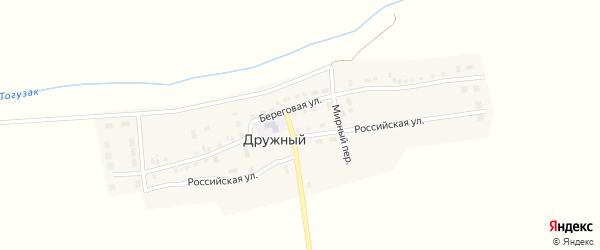Береговая улица на карте Дружного поселка с номерами домов