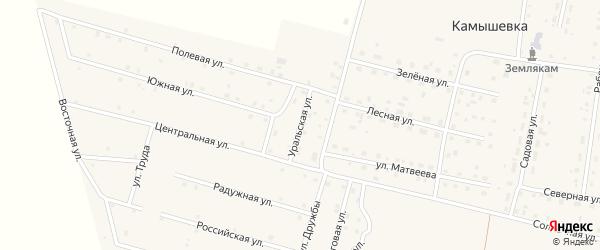 Уральская улица на карте деревни Камышевки с номерами домов