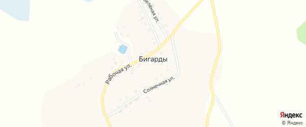 Южная улица на карте поселка Бигарды с номерами домов