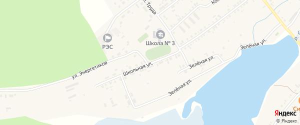 Школьная улица на карте села Тюбука с номерами домов