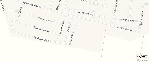 Западная улица на карте деревни Камышевки с номерами домов