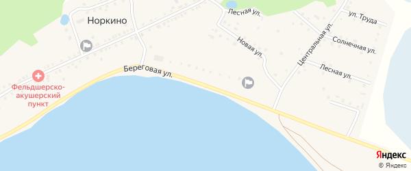 Береговая улица на карте деревни Норкино с номерами домов
