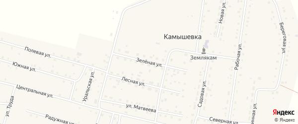Зеленая улица на карте деревни Камышевки с номерами домов