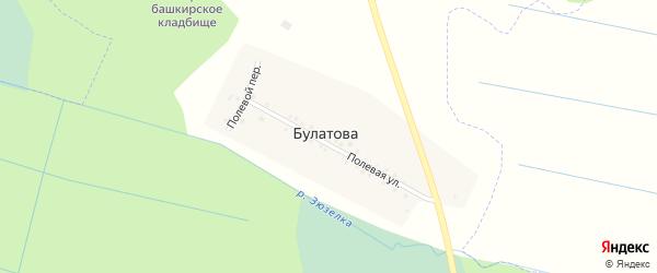Полевой переулок на карте деревни Булатова с номерами домов